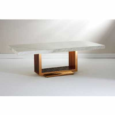 Moda Large Marble Top Coffee Table Rose Gold Stainless Steel Base
