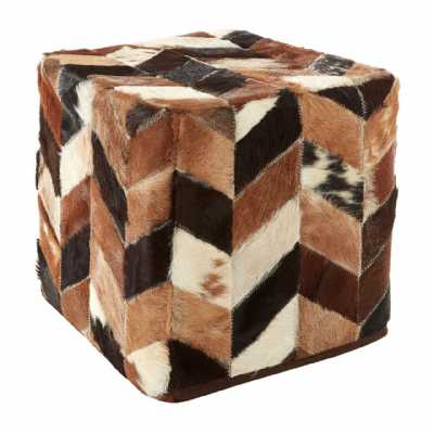 Geometric Chevron Designed Safira Leather Natural Patchwork Pouffe