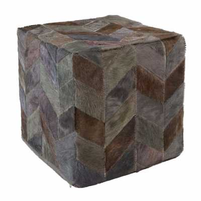 Geometric Chevron Designed Safira Leather Light Grey Patchwork Pouffe