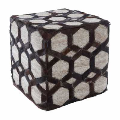 Safira Light Oatmeal Tactile Jacquard Pouffe with Brown Leather Strips