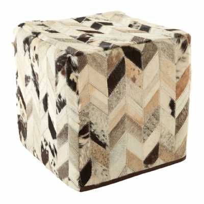Safira Chevron Design Square Real Leather Black White Patchwork Pouffe