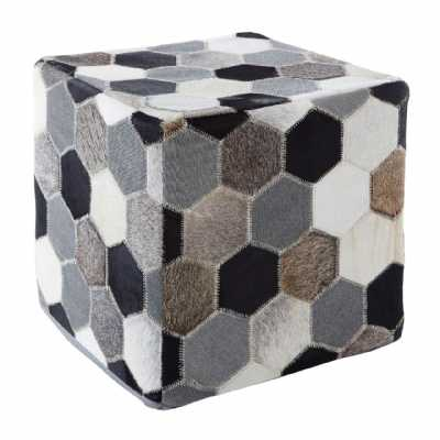Contemporary Safira Cowhide Leather Black White Grey Patchwork Pouffe