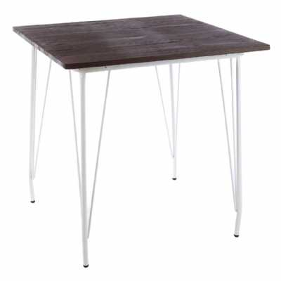 Contemporary District White Slender Metal Legs And Elm Wood Top Table