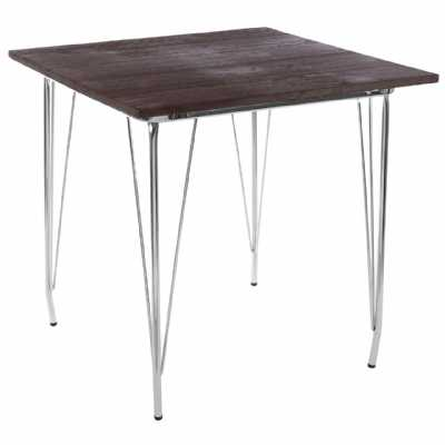 Contemporary Loft Design District Chrome Metal And Elm Wood Side Table