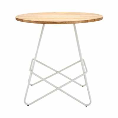 Loft Style Contemporary District White Metal Elm Wood Round Table