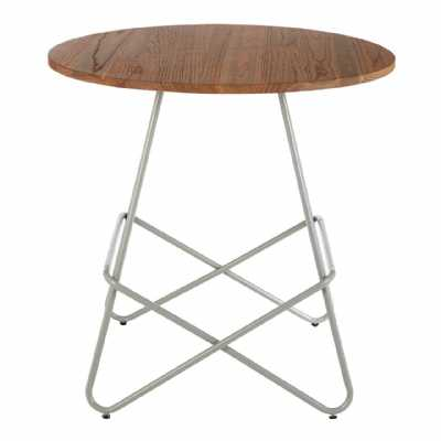 Contemporary District Grey Metal And Elm Wood Round Side End Table
