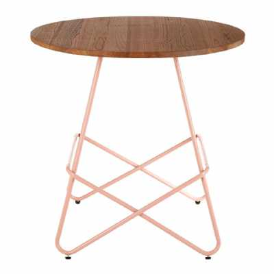 Contemporary District Pastel Pink Metal And Elm Wood Round Side Table