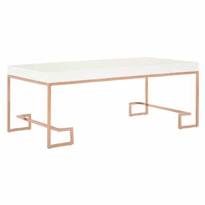 Contemporary Allure White High Gloss Top Rose Gold Metal Coffee Table