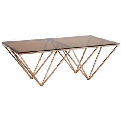 Contemporary Geometric Allure Red Tint Glass Gold Metal Coffee Table