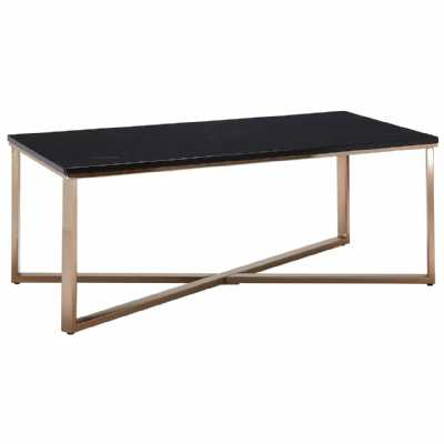 Large Allure Champagne Metal Cross Base Coffee Table Faux Marble Top