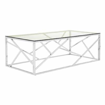 Contemporary Rectangular Allure Stainless Steel Geometric Coffee Table