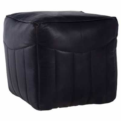 Buffalo Antique Blue Leather Channeled Pouffe With Soft Cotton Filling