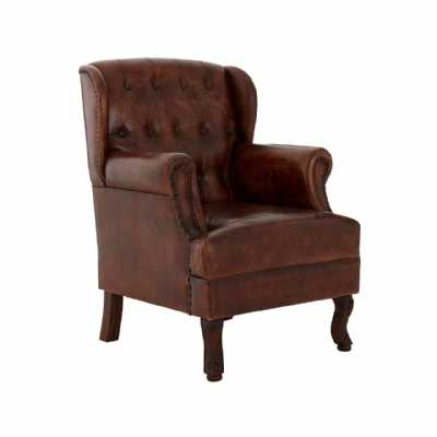 Buffalo Brown Leather Upholstered Buttoned Armchair On Mango Wood Feet