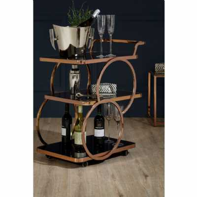 Rose Gold Tea Drinks and Cakes Hostess Serving Trolley