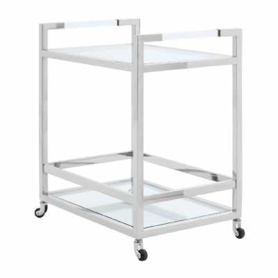 Silver Stainless Steel 2 Tiers Drinks Bar Butler Trolley Glass Shelves
