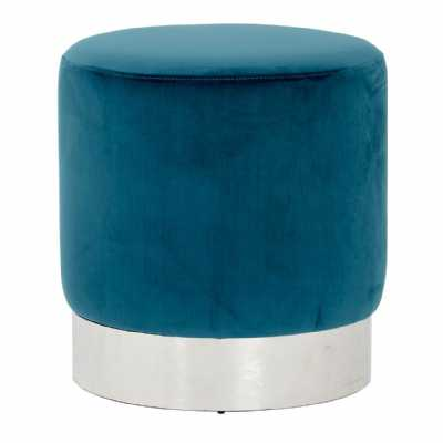 Contemporary Vogue Teal Velvet Round Stool Silver Stainless Steel Base