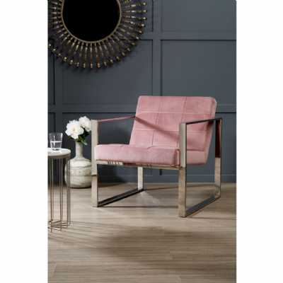 Vintage Style Vogue Pink Velvet Cocktail Chair Stainless Steel Frame