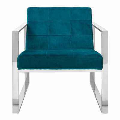 Vintage Style Vogue Teal Velvet Cocktail Chair Stainless Steel Frame