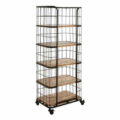Industrial Crest Iron Fruitwood 5 Rack Shelf Unit On Castor Wheels