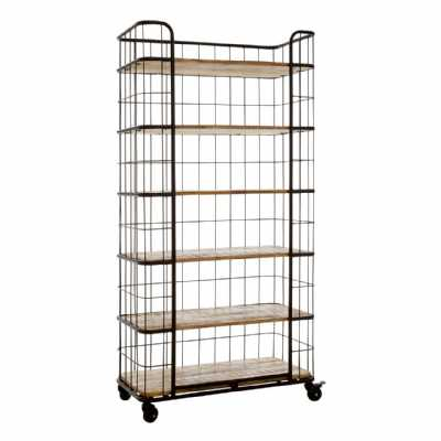 Industrial Style Crest Iron Wire Framed 6 Mango Wood Rack Shelf Unit