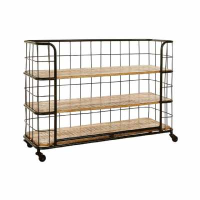 Industrial Crest Iron Fruitwood 3 Rack Shelf Unit On Castor Wheels