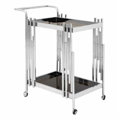 Novo Silver Finish 2 Teir Tea Drinks and Cakes Hostess Serving Trolley