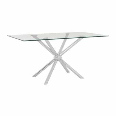 Novo Large Rectangular Silver Stainless Steel Glass Top Dining Table