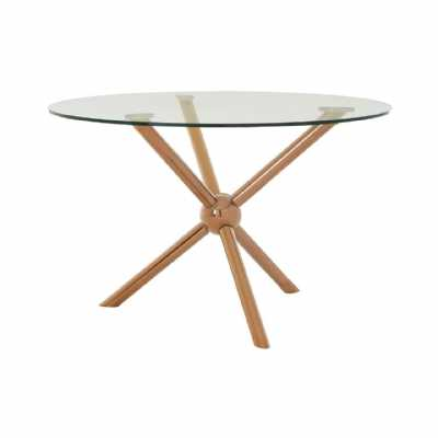 Novo Round Rose Gold Metal Contemporary Base Dining Table Glass Top
