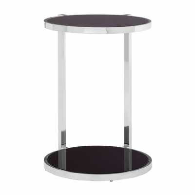 Novo Tempered Glass Side Table With Silver Finish Steel Rounded Base