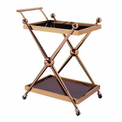 Novo 2 Tier Rose Gold Finish Tea Drinks Cakes Hostess Serving Trolley