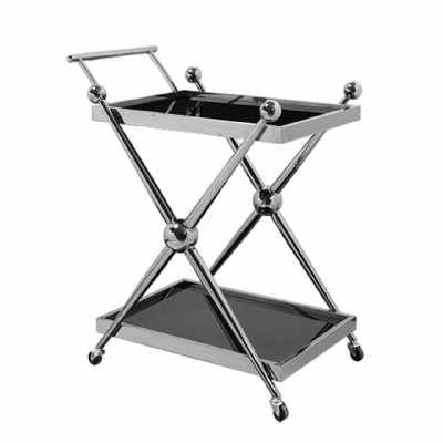 Novo 2 Tier Silver Finish Tea Drinks Cakes Hostess Serving Trolley