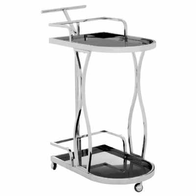 Novo 2 Tier Silver Finish Tea Drinks and Cakes Hostess Serving Trolley