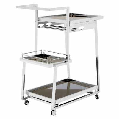 Novo 3 Tier Silver Finish Tea Drinks and Cakes Hostess Serving Trolley