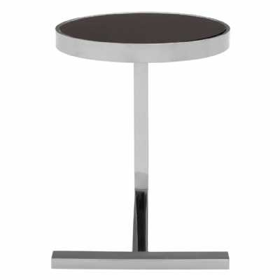 Novo Silver Metal Steel Framed Glass Top Side Table With T Shaped Base