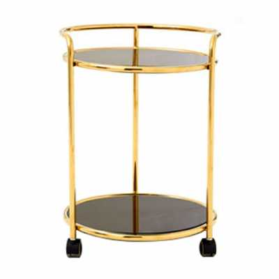Novo Round Gold Finish Tea Drinks and Cakes Hostess Serving Trolley