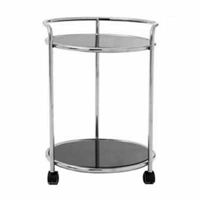 Novo Round Silver Finish Tea Drinks and Cakes Hostess Serving Trolley