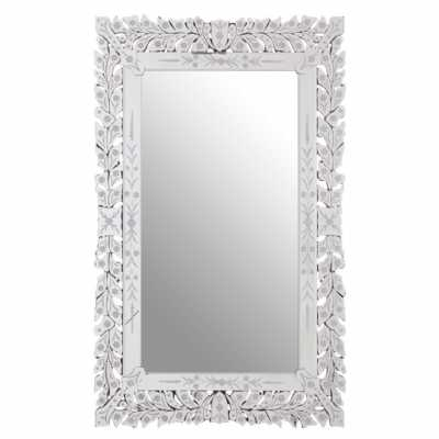 Gracie Rectangular Mirrored Leaf Frame Wall Mirror Floral Detailing