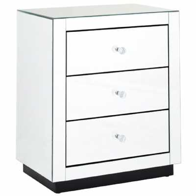 Gwynith Silver Mirrored 3 Drawer Chest with Crystal Glass Handles