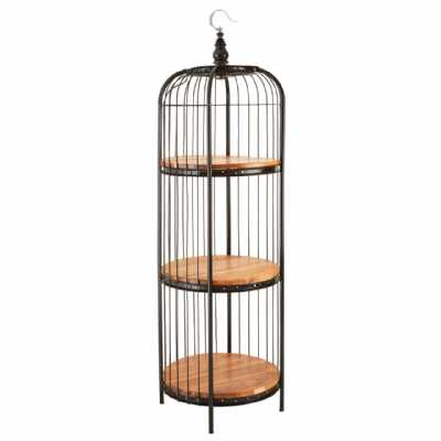 Mantis Medium Black Metal Iron Birdcage Round Wooden 3 Tier Shelf Unit