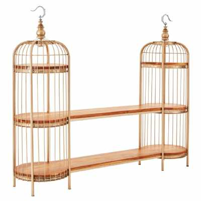 Mantis Champagne Gold Finish Iron Birdcage Unit with 4 Wooden Shelves