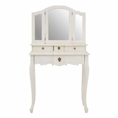 Fifty Five South Chic Design Loire White Wood Carved Legs Dressing Table With Mirror