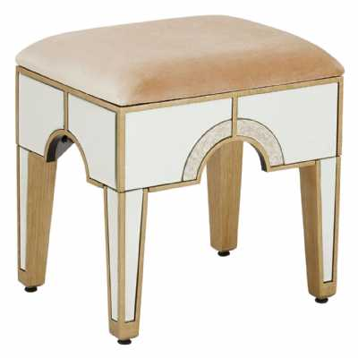 Art Deco Antique Mirrored Glass Champagne Fabric Knightsbridge Stool