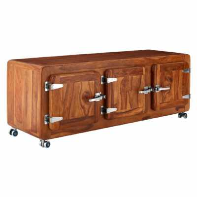 Large Marwar Low Sheesham Wood Brown TV Media Unit with Caster Wheels