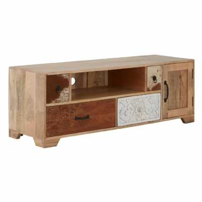 Marwar Large Low Mango Wood Media TV Unit With Decorative Handles