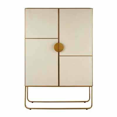 Modica Tall Large Oak Wood Brushed Gold Stainless Steel 2 Door Cabinet