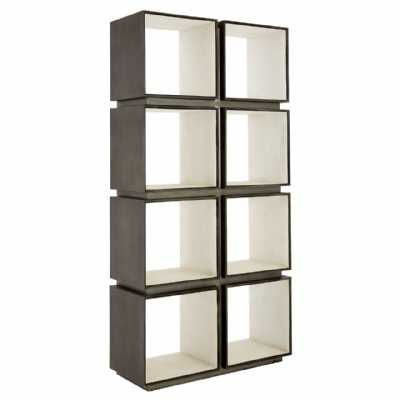 Contemporary Compo Modular Shelf Unit Distressed Silver Iron Framed