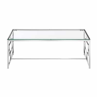 Fifty Five South Allure Clear Glass Silver Base Coffee Table