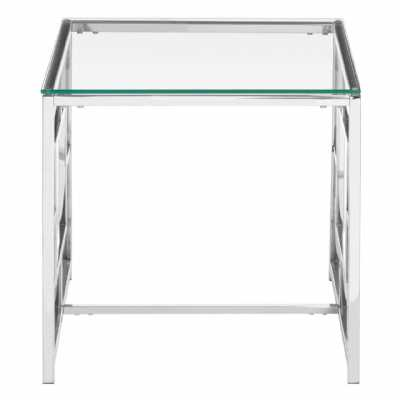 Fifty Five South Allure Clear Glass Silver Base End Table