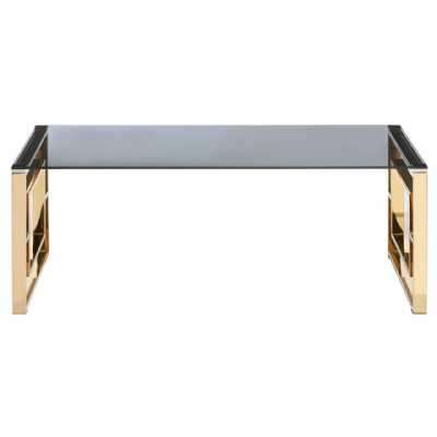 Fifty Five South Allure Gold Finish Square Legs Coffee Table