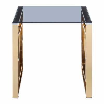 Fifty Five South Allure Gold Finish Square Legs End Table